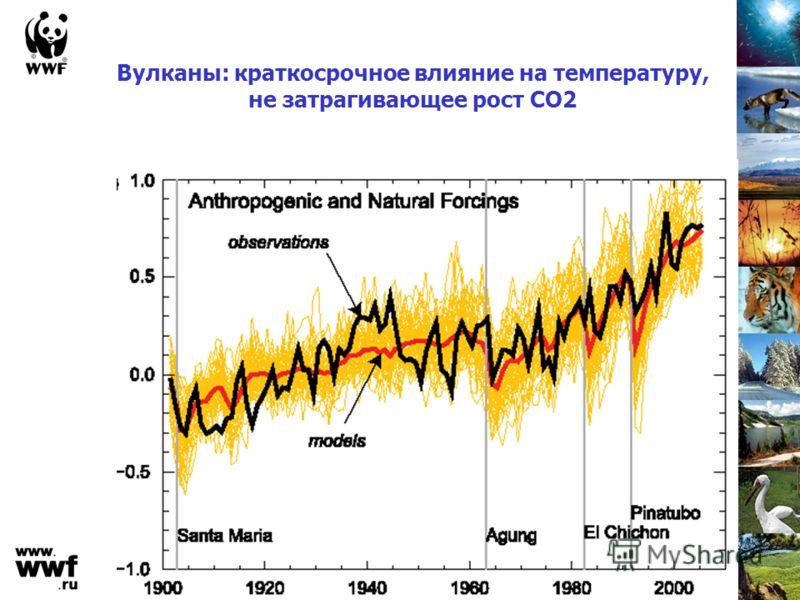 Вулканы: краткосрочное влияние на температуру, не затрагивающее рост СО2
