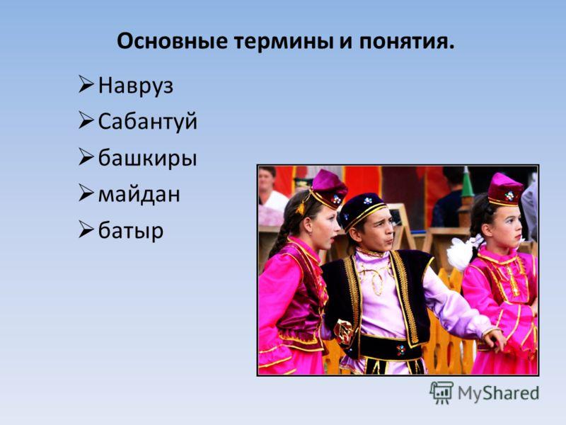 Основные термины и понятия. Навруз Сабантуй башкиры майдан батыр