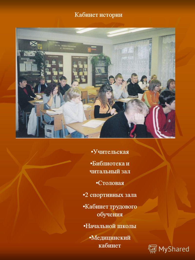 Учительская Библиотека и читальный зал Столовая 2 спортивных зала Кабинет трудового обучения Начальной школы Медицинский кабинет Кабинет истории