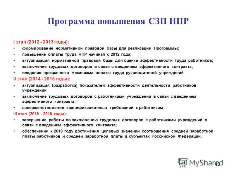 Программа повышения СЗП НПР I этап (2012 - 2013 годы): формирование нормативной правовой базы для реализации Программы; повышение оплаты труда НПР начиная с 2012 года; актуализация нормативной правовой базы для оценки эффективности труда работников;
