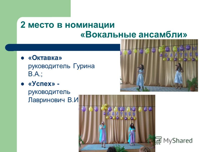 2 место в номинации «Вокальные ансамбли» «Октавка» руководитель Гурина В.А.; «Успех» - руководитель Лавринович В.И.