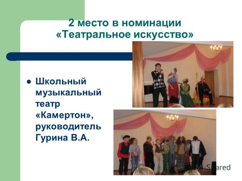 2 место в номинации «Театральное искусство» Школьный музыкальный театр «Камертон», руководитель Гурина В.А.