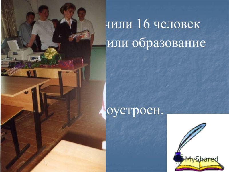 9 класс окончили 16 человек из них 8 продолжили образование в школе 10 класс; 6 человек –ПТУ; 1 техникум; 1 человек не трудоустроен.