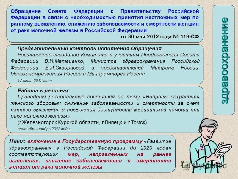 Обращение Совета Федерации к Правительству Российской Федерации в связи с необходимостью принятия неотложных мер по раннему выявлению, снижению заболеваемости и смертности женщин от рака молочной железы в Российской Федерации от 30 мая 2012 года 119-