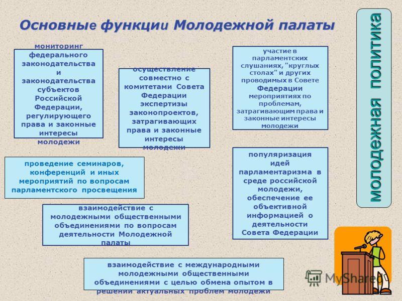 мониторинг федерального законодательства и законодательства субъектов Российской Федерации, регулирующего права и законные интересы молодежи осуществление совместно с комитетами Совета Федерации экспертизы законопроектов, затрагивающих права и законн