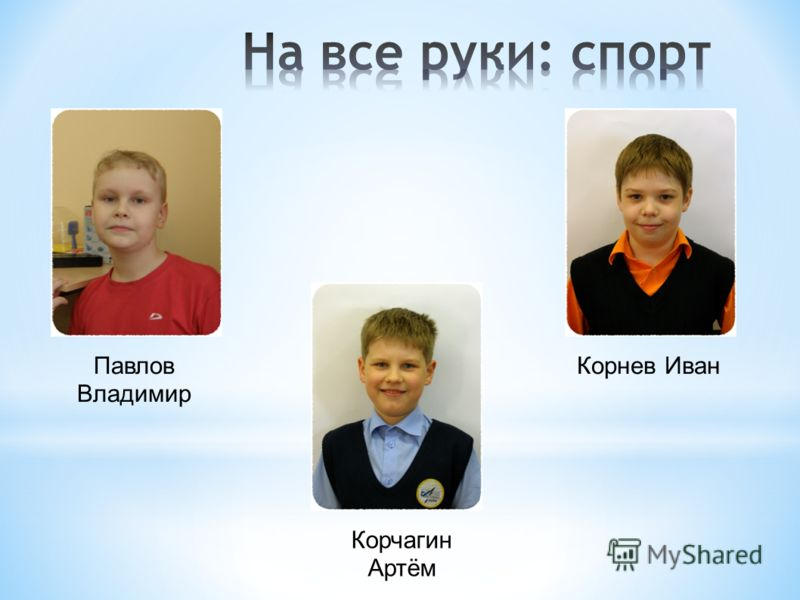 Павлов Владимир Корчагин Артём Корнев Иван