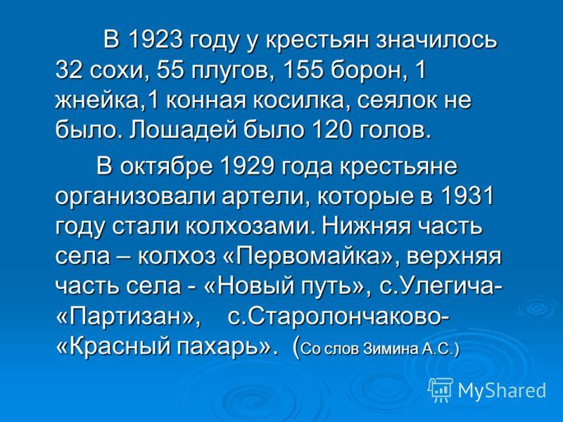 В 1923 году у крестьян значилось 32 сохи, 55 плугов, 155 борон, 1 жнейка,1 конная косилка, сеялок не было. Лошадей было 120 голов. В 1923 году у крестьян значилось 32 сохи, 55 плугов, 155 борон, 1 жнейка,1 конная косилка, сеялок не было. Лошадей было