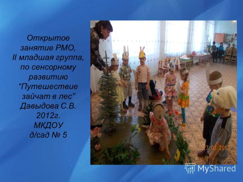Открытое занятие РМО, II младшая группа, по сенсорному развитиюПутешествие зайчат в лес Давыдова С.В. 2012г. МКДОУ д/сад 5