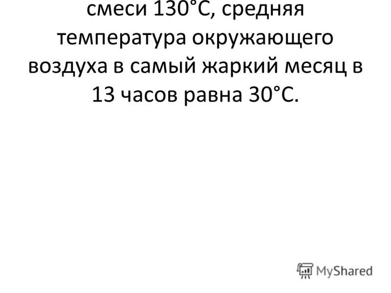 Температура газовоздушной смеси 130°С, средняя температура окружающего воздуха в самый жаркий месяц в 13 часов равна 30°С.