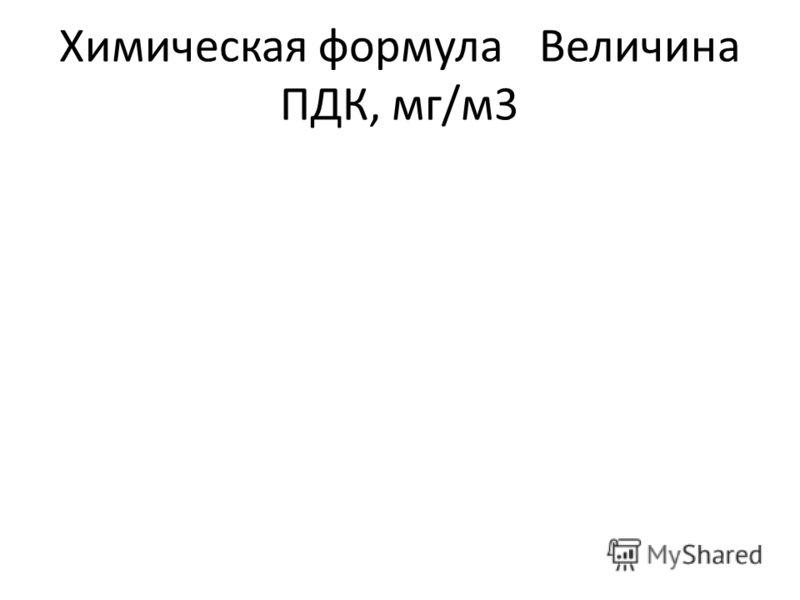 Химическая формулаВеличина ПДК, мг/м3