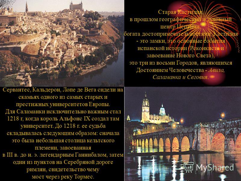 Старая Кастилия, в прошлом географический и духовный центр Испании, богата достопримечательностями. Кастилия - это замки, это основные события испанской истории (Реконкиста и завоевание Нового Света), это три из восьми Городов, являющихся Достоянием