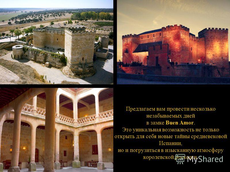 Предлагаем вам провести несколько незабываемых дней в замке Buen Amor. Это уникальная возможность не только открыть для себя новые тайны средневековой Испании, но и погрузиться в изысканную атмосферу королевской роскоши.