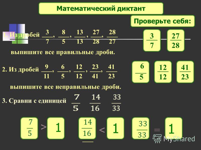Математический диктант Проверьте себя: 1. Из дробей,,,, выпишите все правильные дроби. 3 7 8 5 13 27 28 27 3 7 28 2. Из дробей,,,, выпишите все неправильные дроби. 9 11 6 5 12 23 41 23 6 5 12 41 23 3. Сравни с единицей 1 1 1