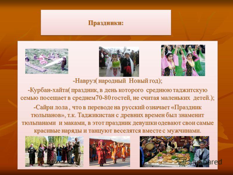 Праздники:Праздники: -Навруз( народный Новый год); -Курбан-хайта( праздник, в день которого среднюю таджитскую семью посещает в среднем70-80 гостей, не считая маленьких детей.); -Сайри лола, что в переводе на русский означает «Праздник тюльпанов», т.