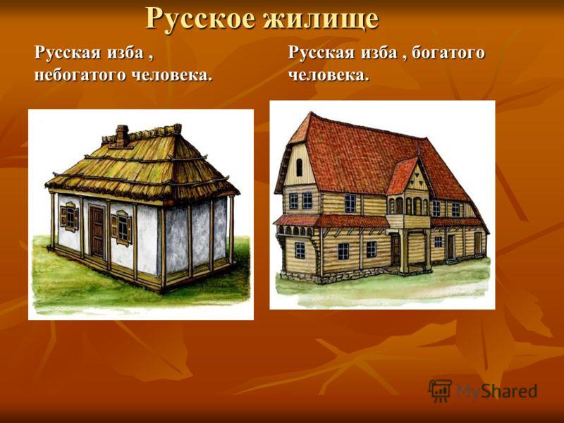 Русское жилище Русская изба, небогатого человека. Русская изба, богатого человека.