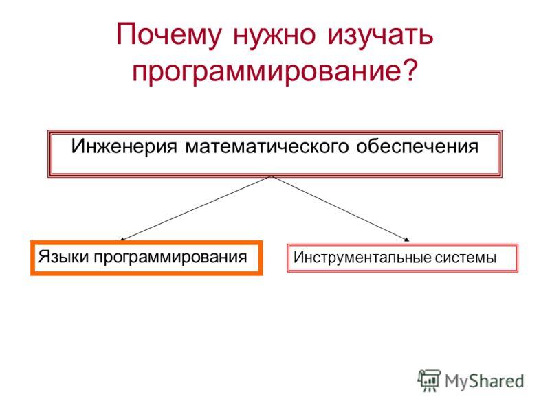 Почему нужно изучать программирование? Инженерия математического обеспечения Языки программирования Инструментальные системы