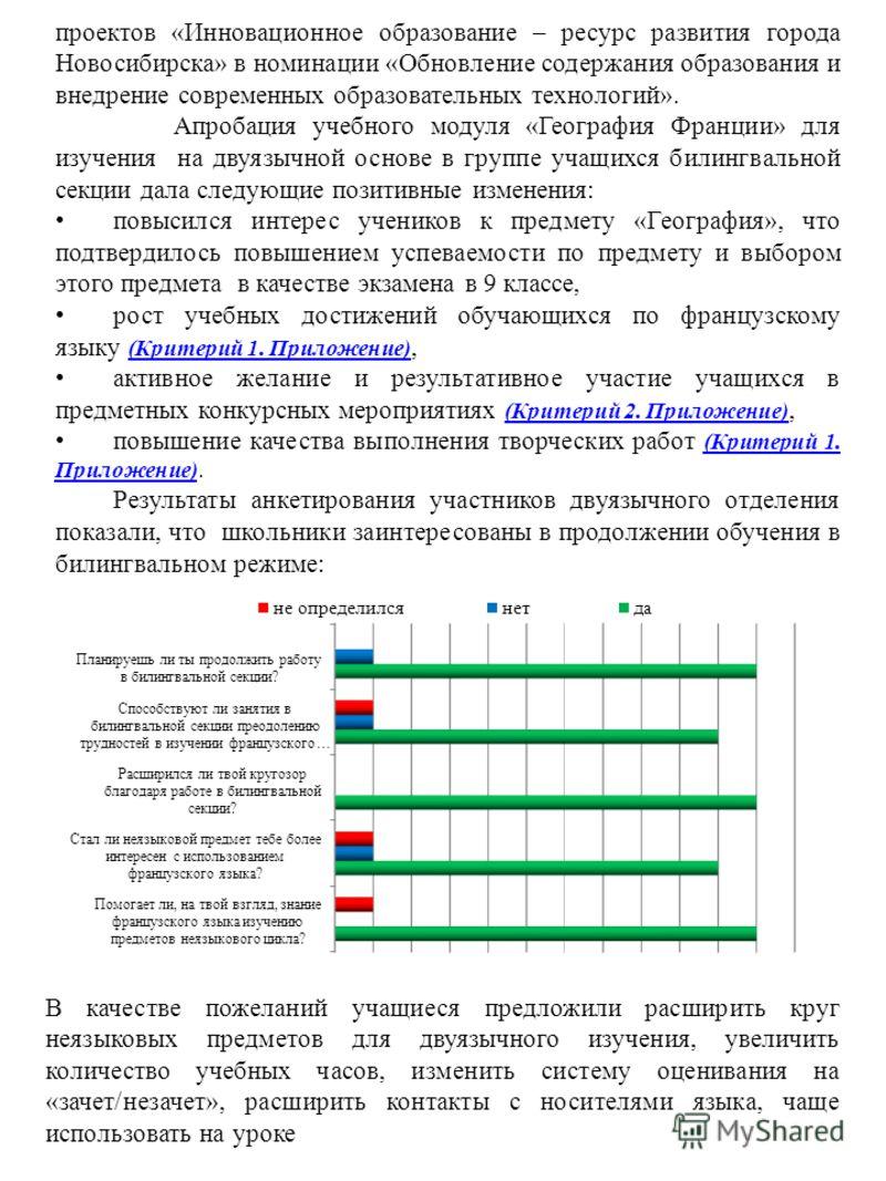проектов «Инновационное образование – ресурс развития города Новосибирска» в номинации «Обновление содержания образования и внедрение современных образовательных технологий». Апробация учебного модуля «География Франции» для изучения на двуязычной ос