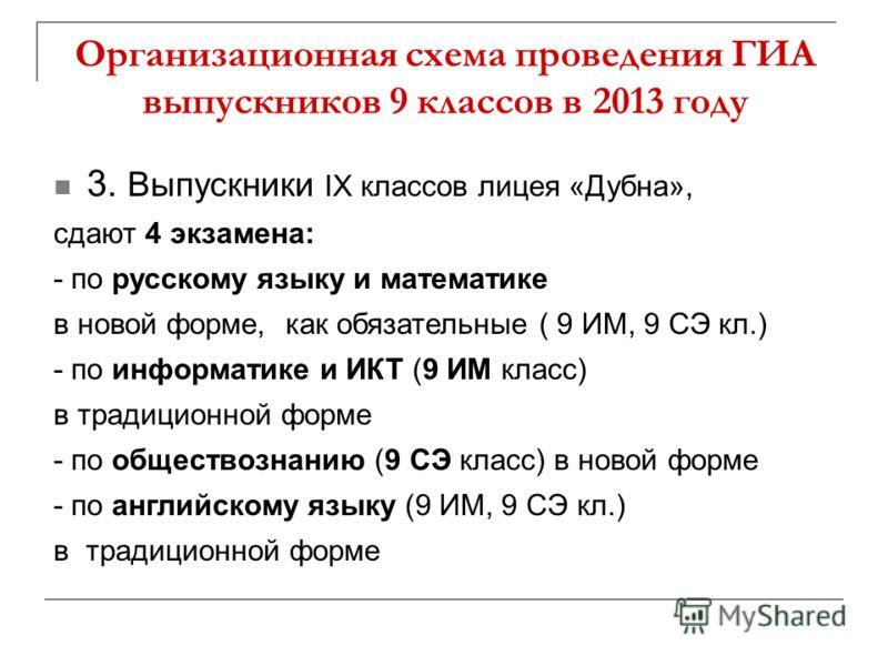 Организационная схема проведения ГИА выпускников 9 классов в 2013 году 3. Выпускники IX классов лицея «Дубна», сдают 4 экзамена: - по русскому языку и математике в новой форме, как обязательные ( 9 ИМ, 9 СЭ кл.) - по информатике и ИКТ (9 ИМ класс) в