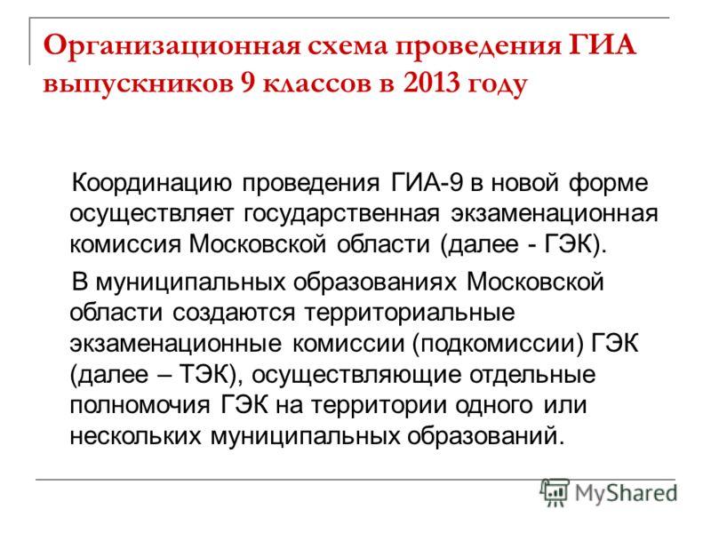 Организационная схема проведения ГИА выпускников 9 классов в 2013 году Координацию проведения ГИА-9 в новой форме осуществляет государственная экзаменационная комиссия Московской области (далее - ГЭК). В муниципальных образованиях Московской области