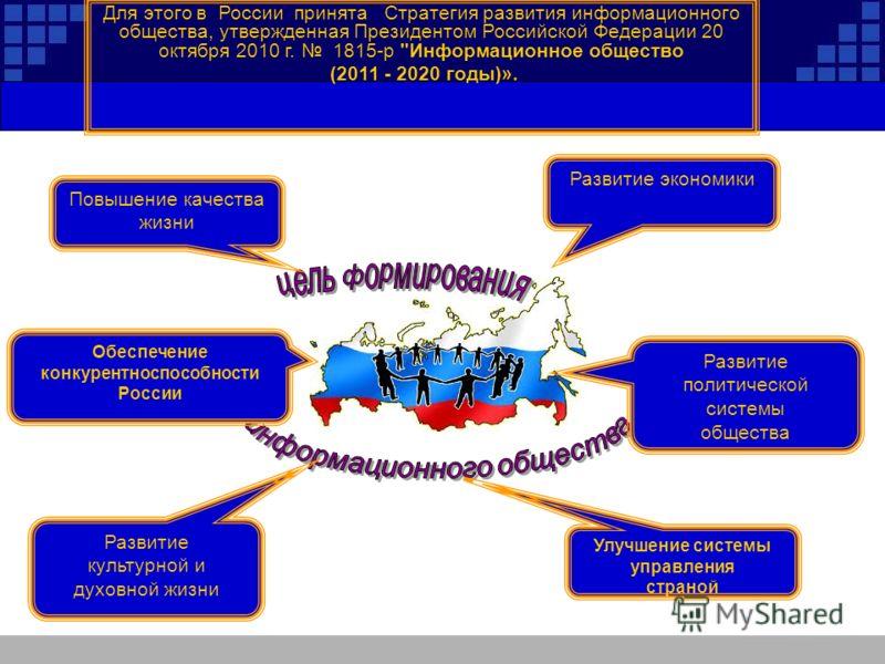 Для этого в России принята Стратегия развития информационного общества, утвержденная Президентом Российской Федерации 20 октября 2010 г. 1815-р