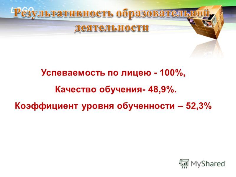 LOGO Успеваемость по лицею - 100%, Качество обучения- 48,9%. Коэффициент уровня обученности – 52,3%