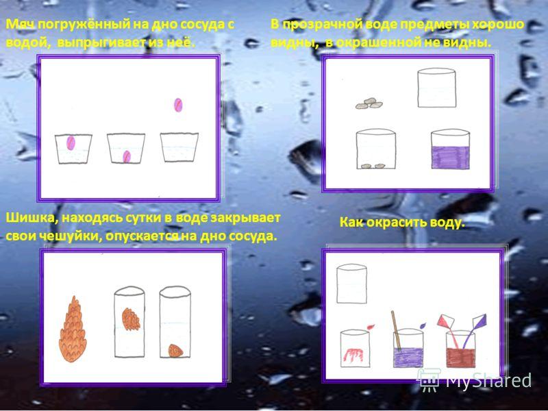Мяч погружённый на дно сосуда с водой, выпрыгивает из неё. В прозрачной воде предметы хорошо видны, в окрашенной не видны. Шишка, находясь сутки в воде закрывает свои чешуйки, опускается на дно сосуда. Как окрасить воду.