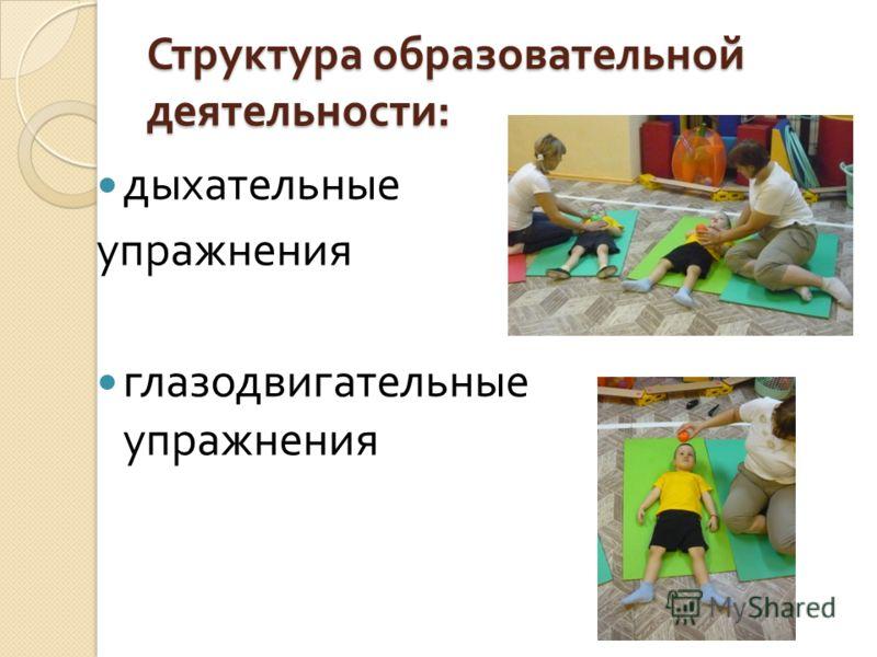 Структура образовательной деятельности : дыхательные упражнения глазодвигательные упражнения