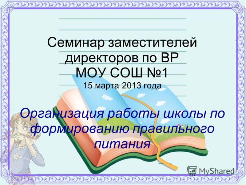 Семинар заместителей директоров по ВР МОУ СОШ 1 15 марта 2013 года Организация работы школы по формированию правильного питания