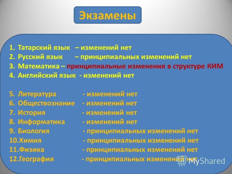 Экзамены 1.Татарский язык – изменений нет 2.Русский язык – принципиальных изменений нет 3.Математика – принципиальные изменения в структуре КИМ 4.Английский язык - изменений нет 5.Литература - изменений нет 6.Обществознание - изменений нет 7.История