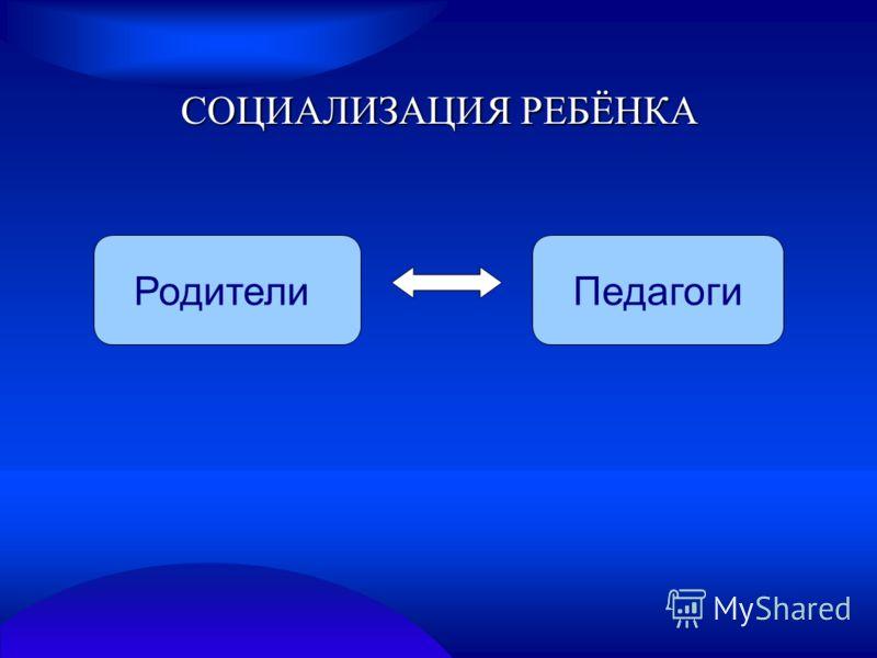СОЦИАЛИЗАЦИЯ РЕБЁНКА РодителиПедагоги