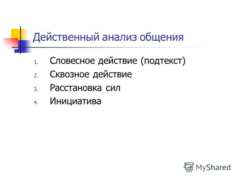 Действенный анализ общения 1. Словесное действие (подтекст) 2. Сквозное действие 3. Расстановка сил 4. Инициатива