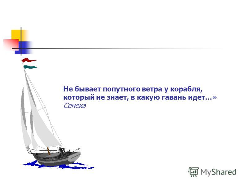 Видение цели Не бывает попутного ветра у корабля, который не знает, в какую гавань идет…» Сенека