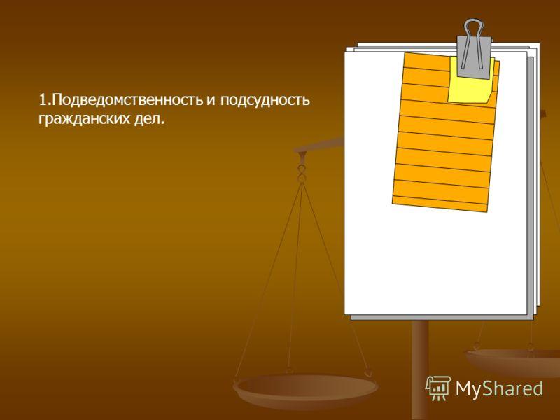 1.Подведомственность и подсудность гражданских дел.