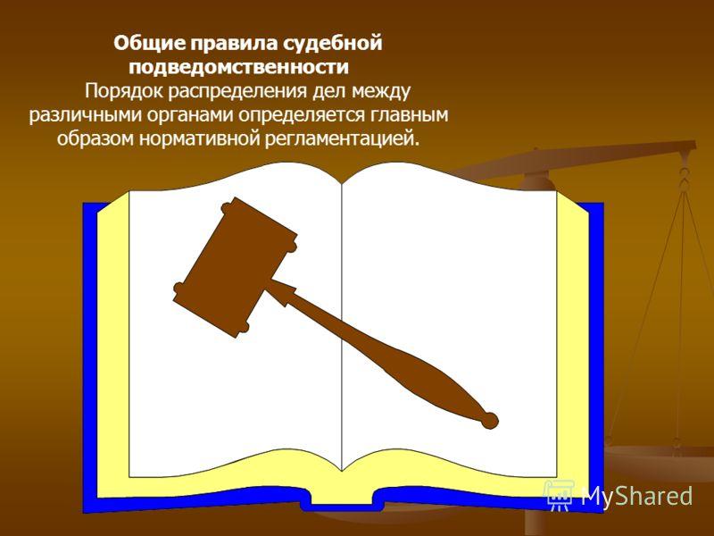 Общие правила судебной подведомственности Порядок распределения дел между различными органами определяется главным образом нормативной регламентацией.