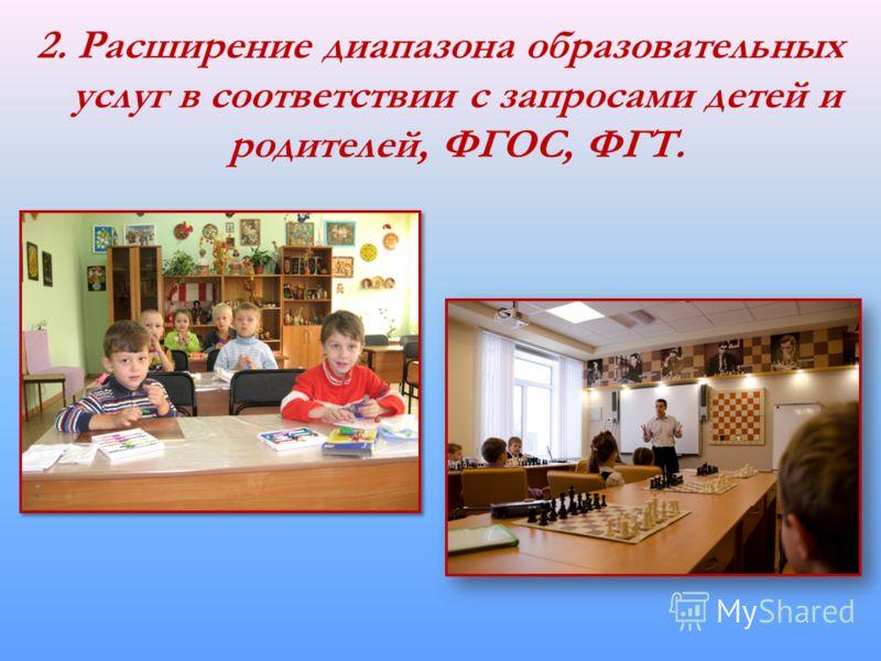 2. Расширение диапазона образовательных услуг в соответствии с запросами детей и родителей, ФГОС, ФГТ.