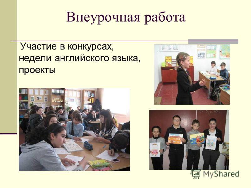 Внеурочная работа Участие в конкурсах, недели английского языка, проекты