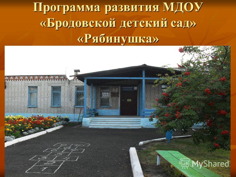 Программа развития МДОУ «Бродовской детский сад» «Рябинушка»