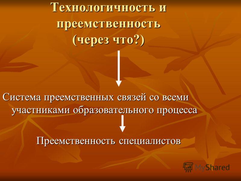 Технологичность и преемственность (через что?) Система преемственных связей со всеми участниками образовательного процесса Преемственность специалистов