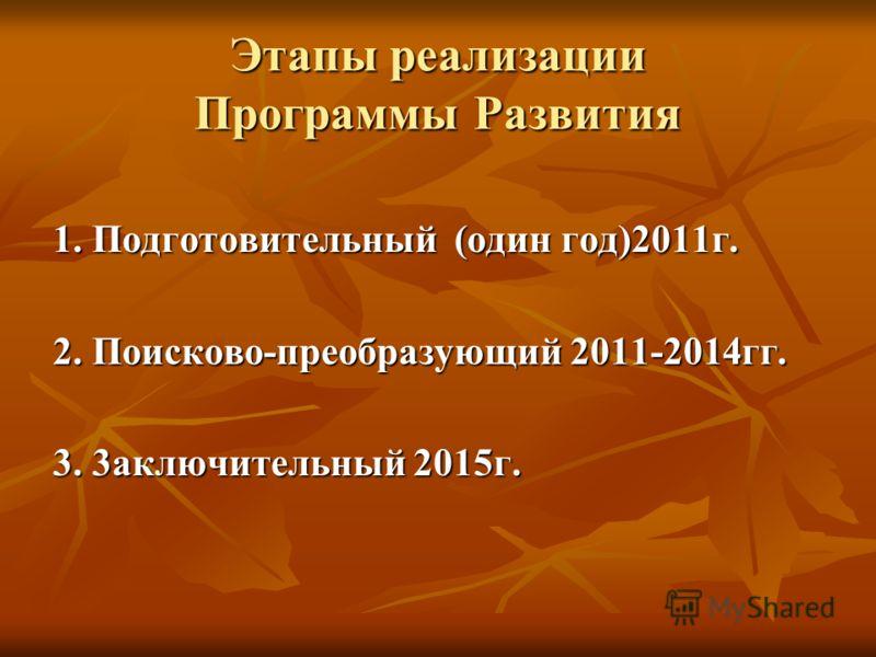 Этапы реализации Программы Развития 1. Подготовительный (один год)2011г. 2. Поисково-преобразующий 2011-2014гг. 3. 3аключительный 2015г.