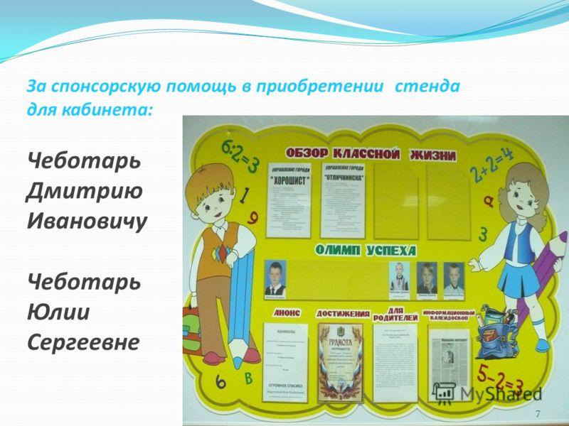 За спонсорскую помощь в приобретении стенда для кабинета: Чеботарь Дмитрию Ивановичу Чеботарь Юлии Сергеевне 7