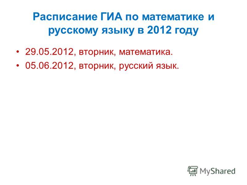 Расписание ГИА по математике и русскому языку в 2012 году 29.05.2012, вторник, математика. 05.06.2012, вторник, русский язык.