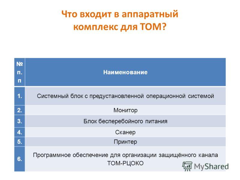 Что входит в аппаратный комплекс для ТОМ? п. п Наименование 1.Системный блок с предустановленной операционной системой 2.Монитор 3.Блок бесперебойного питания 4.Сканер 5.Принтер 6. Программное обеспечение для организации защищённого канала ТОМ-РЦОКО