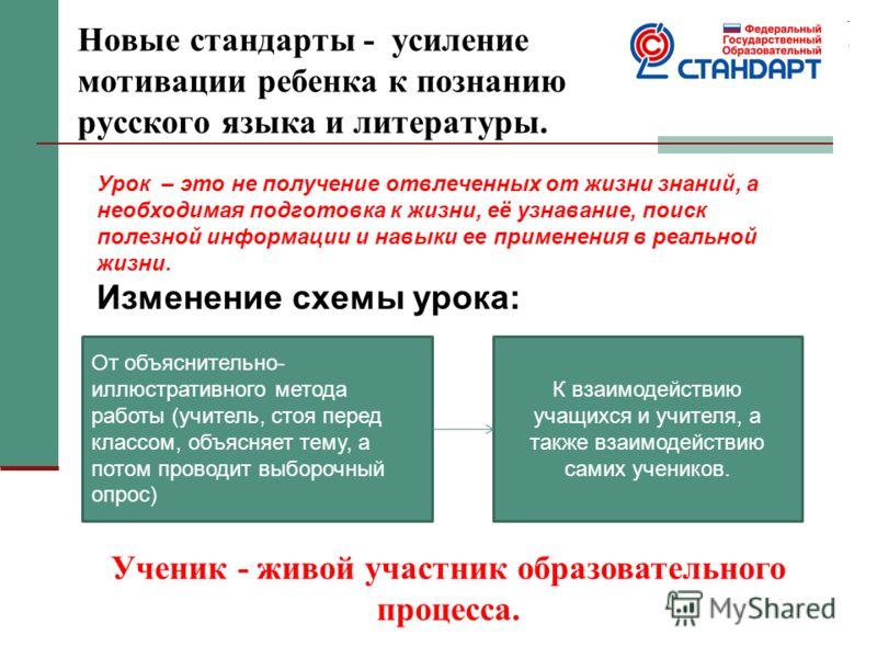 Новые стандарты - усиление мотивации ребенка к познанию русского языка и литературы. Урок – это не получение отвлеченных от жизни знаний, а необходимая подготовка к жизни, её узнавание, поиск полезной информации и навыки ее применения в реальной жизн