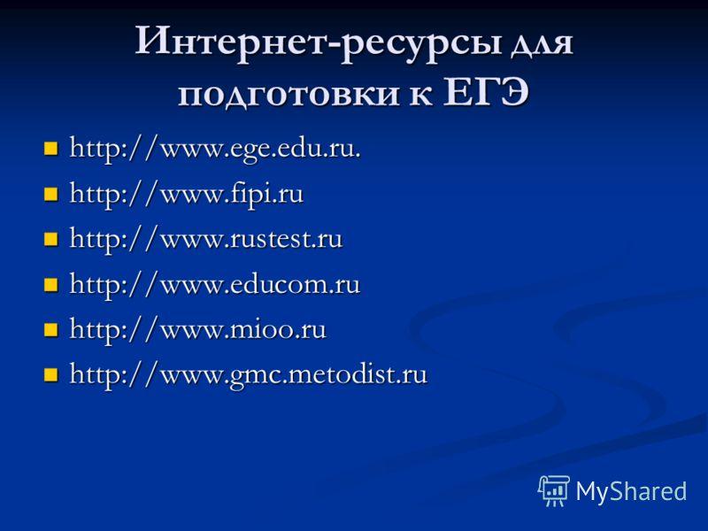 Интернет-ресурсы для подготовки к ЕГЭ http://www.ege.edu.ru. http://www.ege.edu.ru. http://www.fipi.ru http://www.fipi.ru http://www.rustest.ru http://www.rustest.ru http://www.educom.ru http://www.educom.ru http://www.mioo.ru http://www.mioo.ru http