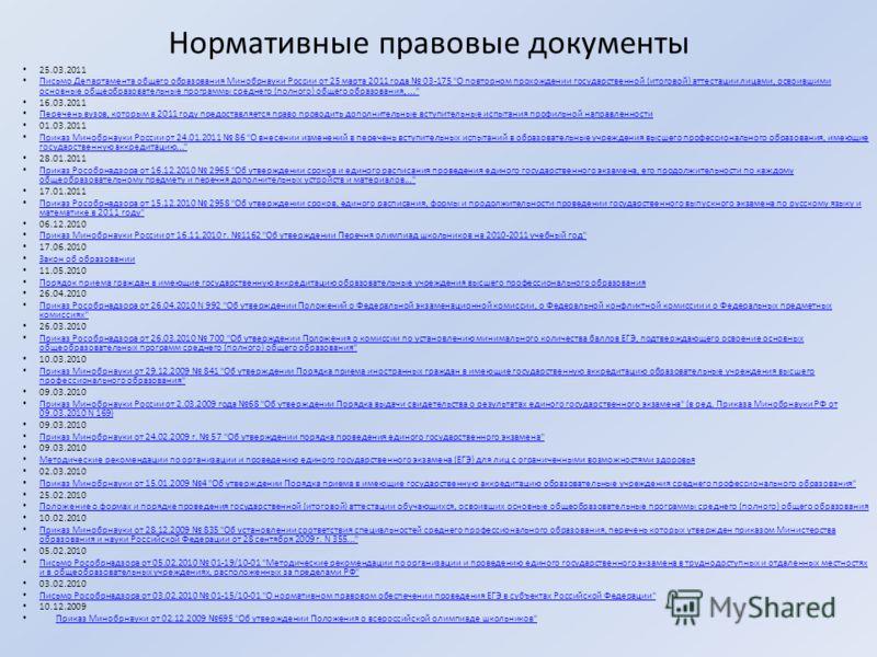 Нормативные правовые документы 25.03.2011 Письмо Департамента общего образования Минобрнауки России от 25 марта 2011 года 03-175