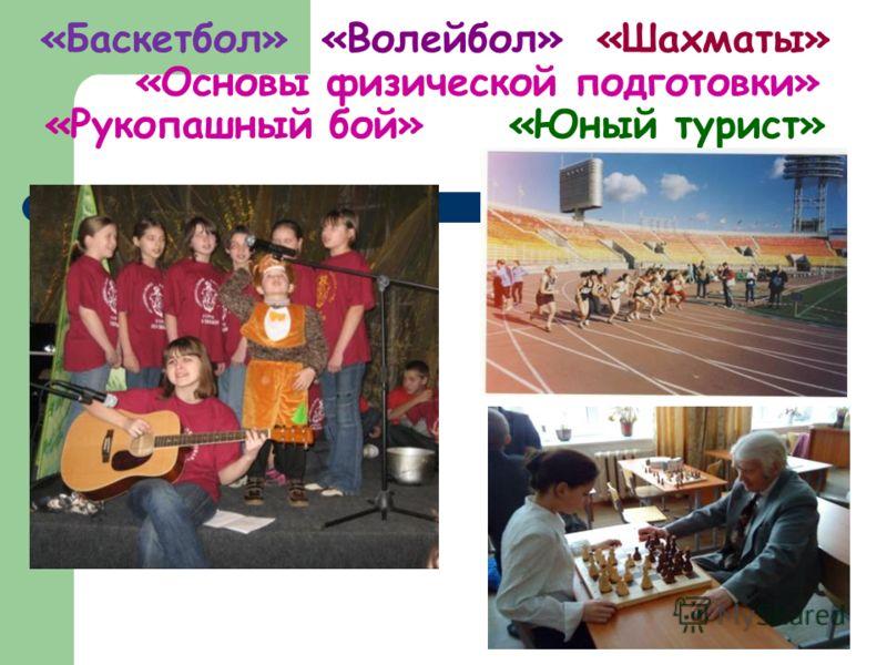 «Баскетбол» «Волейбол» «Шахматы» «Основы физической подготовки» «Рукопашный бой» «Юный турист»