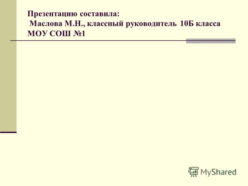 Презентацию составила: Маслова М.Н., классный руководитель 10Б класса МОУ СОШ 1