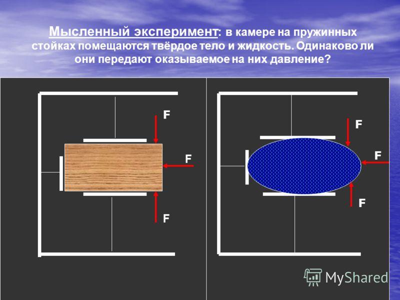 Мысленный эксперимент : в камере на пружинных стойках помещаются твёрдое тело и жидкость. Одинаково ли они передают оказываемое на них давление? F F F F F F
