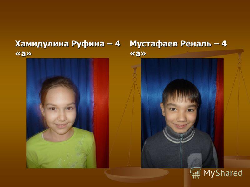 Хамидулина Руфина – 4 «а» Мустафаев Реналь – 4 «а»