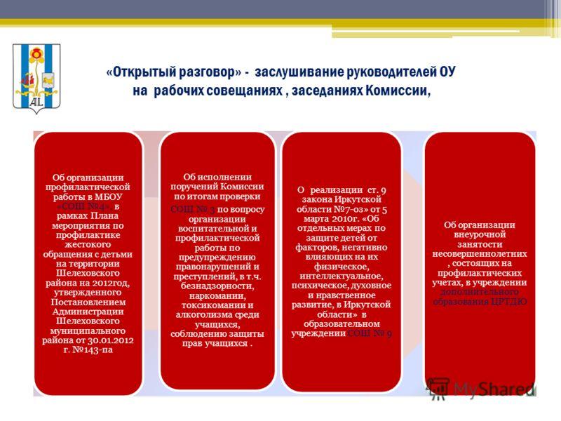 «Открытый разговор» - заслушивание руководителей ОУ на рабочих совещаниях, заседаниях Комиссии, Об организации профилактической работы в МБОУ «СОШ 4», в рамках Плана мероприятия по профилактике жестокого обращения с детьми на территории Шелеховского
